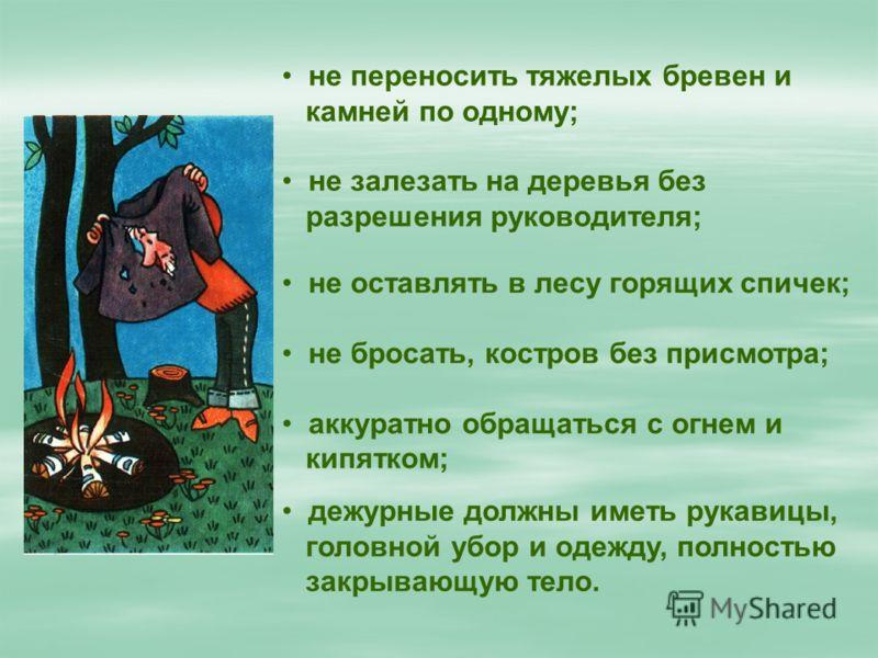 дежурные должны иметь рукавицы, головной убор и одежду, полностью закрывающую тело. не переносить тяжелых бревен и камней по одному; не залезать на деревья без разрешения руководителя; не оставлять в лесу горящих спичек; не бросать, костров без присм