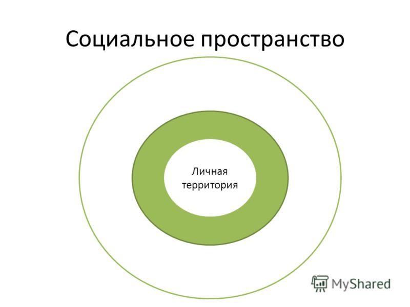 Социальное пространство Общественная территория Домашняя территория Личная территория