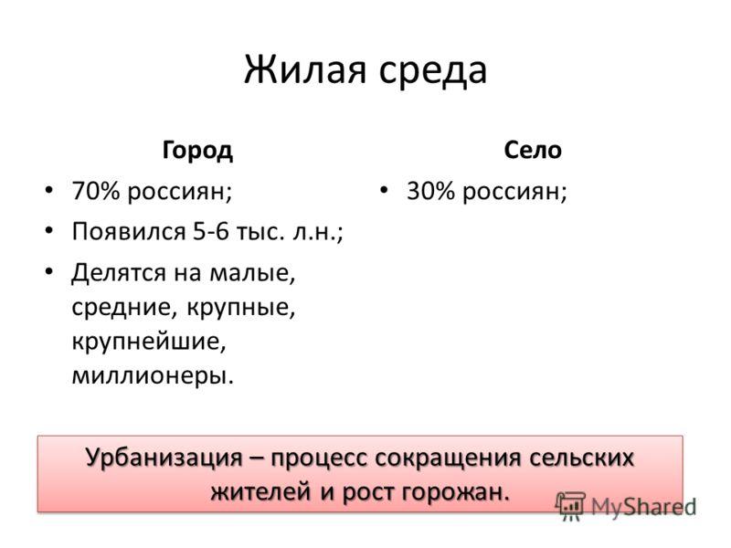 Жилая среда Город 70% россиян; Появился 5-6 тыс. л.н.; Делятся на малые, средние, крупные, крупнейшие, миллионеры. Село 30% россиян; Урбанизация – процесс сокращения сельских жителей и рост горожан.