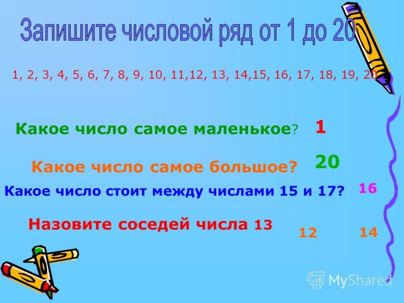 1, 2, 3, 4, 5, 6, 7, 8, 9, 10, 11,12, 13, 14,15, 16, 17, 18, 19, 20 Какое число самое маленькое ? Какое число самое большое? Какое число стоит между числами 15 и 17? Назовите соседей числа 13 1 20 12 14 16