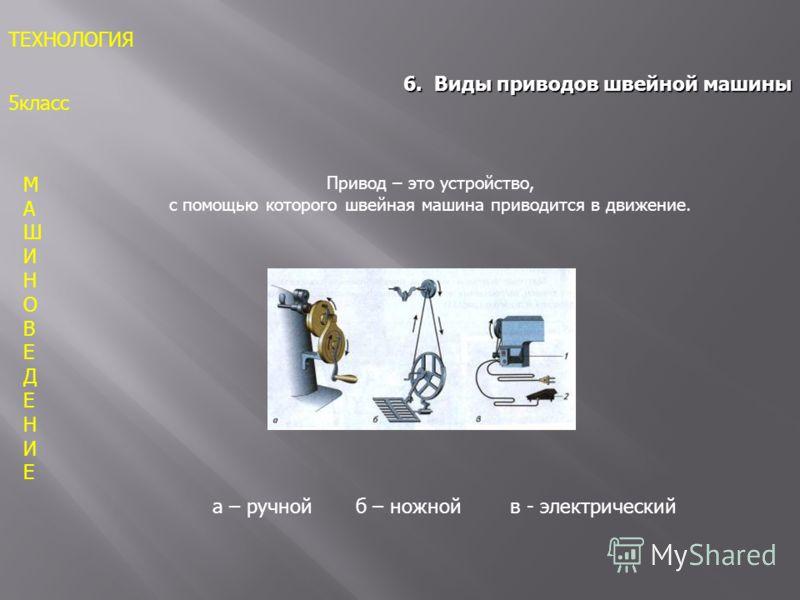 МАШИНОВЕДЕНИЕМАШИНОВЕДЕНИЕ ТЕХНОЛОГИЯ 5класс 6. Виды приводов швейной машины Привод – это устройство, с помощью которого швейная машина приводится в движение. а – ручной б – ножной в - электрический