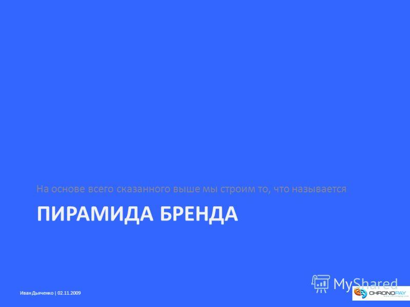 Иван Дьяченко | 02.11.2009 ПИРАМИДА БРЕНДА На основе всего сказанного выше мы строим то, что называется
