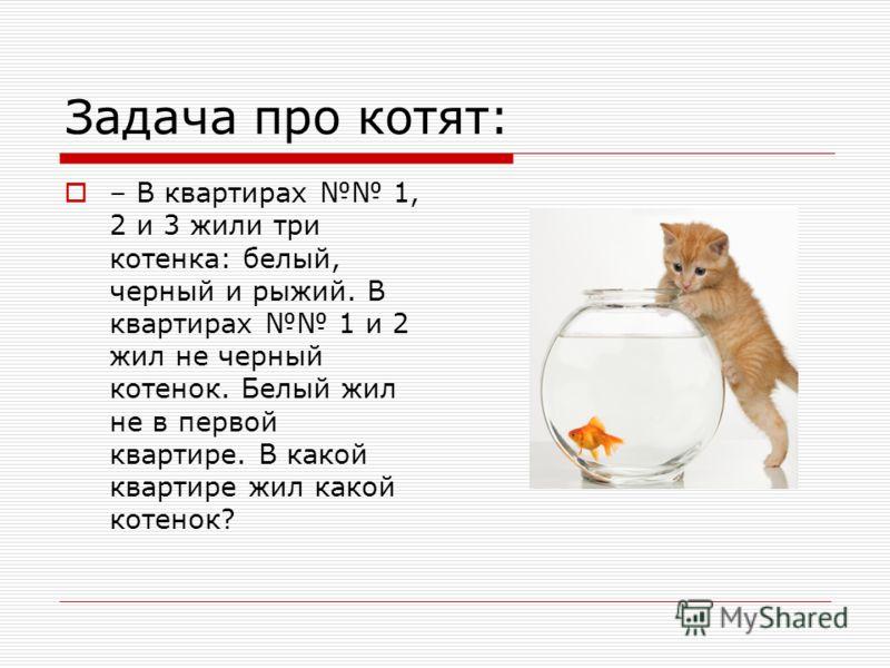 Задача про котят: – В квартирах 1, 2 и 3 жили три котенка: белый, черный и рыжий. В квартирах 1 и 2 жил не черный котенок. Белый жил не в первой квартире. В какой квартире жил какой котенок?