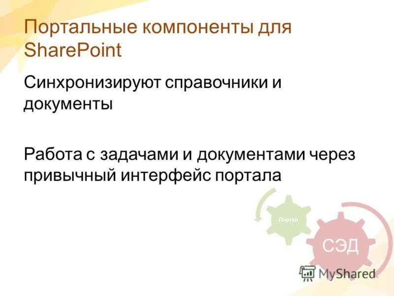 Портальные компоненты для SharePoint Синхронизируют справочники и документы Работа с задачами и документами через привычный интерфейс портала СЭД Портал