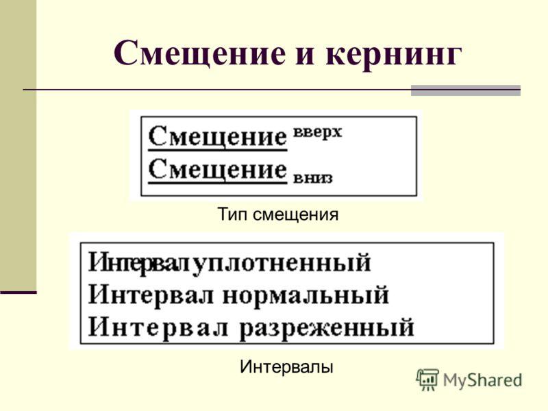 Смещение и кернинг Тип смещения Интервалы