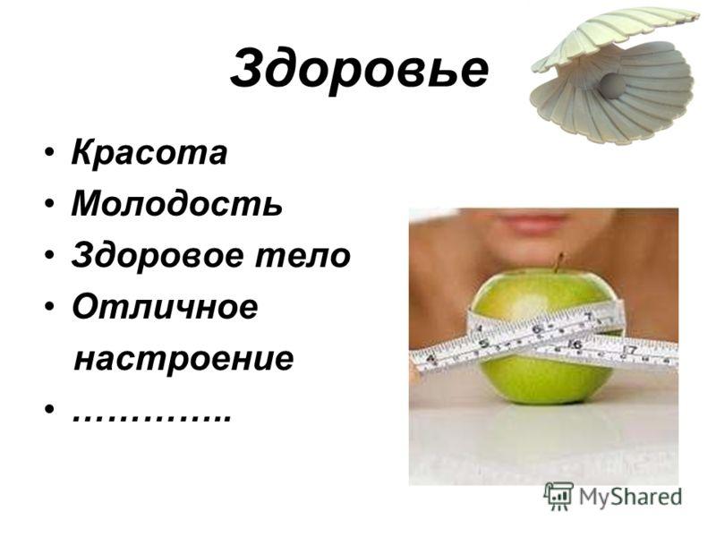 Здоровье Красота Молодость Здоровое тело Отличное настроение …………..