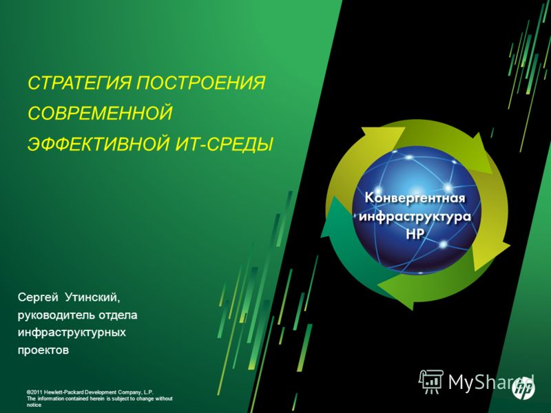 1 ©2011 Hewlett-Packard Development Company, L.P. The information contained herein is subject to change without notice СТРАТЕГИЯ ПОСТРОЕНИЯ СОВРЕМЕННОЙ ЭФФЕКТИВНОЙ ИТ-СРЕДЫ Сергей Утинский, руководитель отдела инфраструктурных проектов