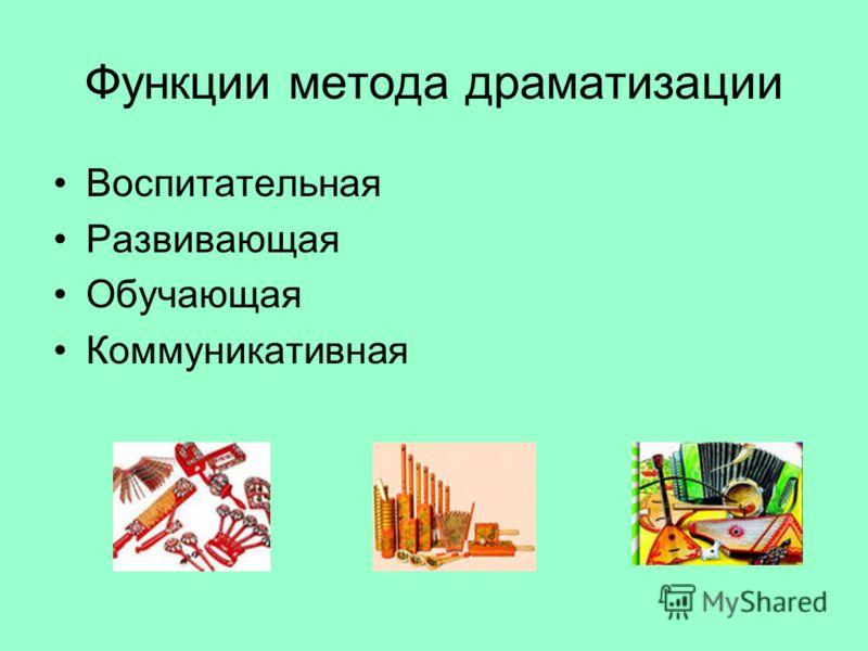 Функции метода драматизации Воспитательная Развивающая Обучающая Коммуникативная