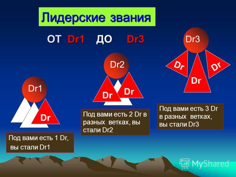 Лидерские звания Dr Dr1 Под вами есть 1 Dr, вы стали Dr1 Dr2 Dr Dr3 Под вами есть 2 Dr в разных ветках, вы стали Dr2 Dr ОТ Dr1 ДО Dr3 ОТ Dr1 ДО Dr3 Под вами есть 3 Dr в разных ветках, вы стали Dr3