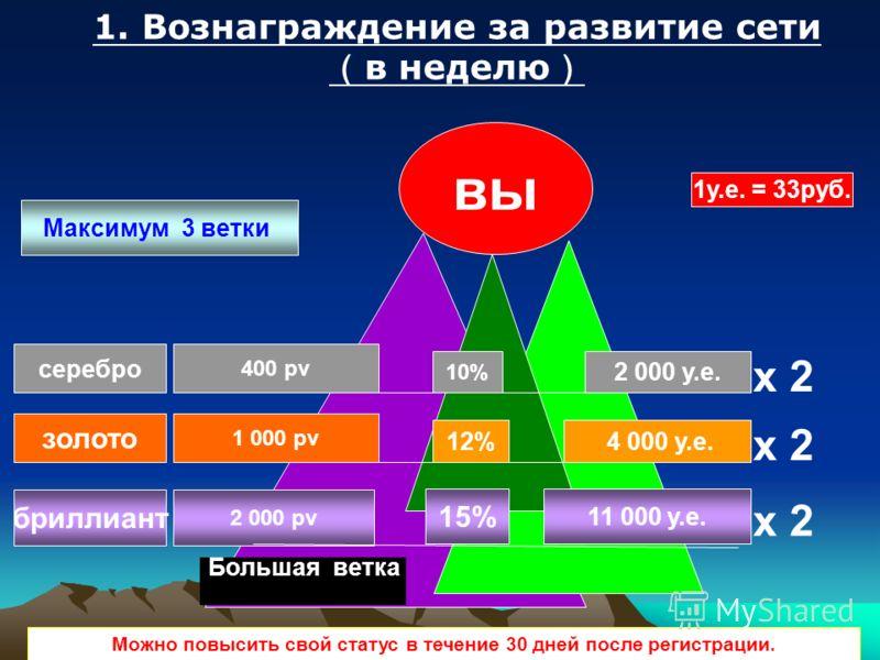серебро золото бриллиант вы 400 pv 1 000 pv 2 000 pv x 2 2 000 у.е. 4 000 у.е. Максимум 3 ветки Большая ветка 1. Вознаграждение за развитие сети в неделю Можно повысить свой статус в течение 30 дней после регистрации. 10% 12% 15% 11 000 у.е. 1у.е. =