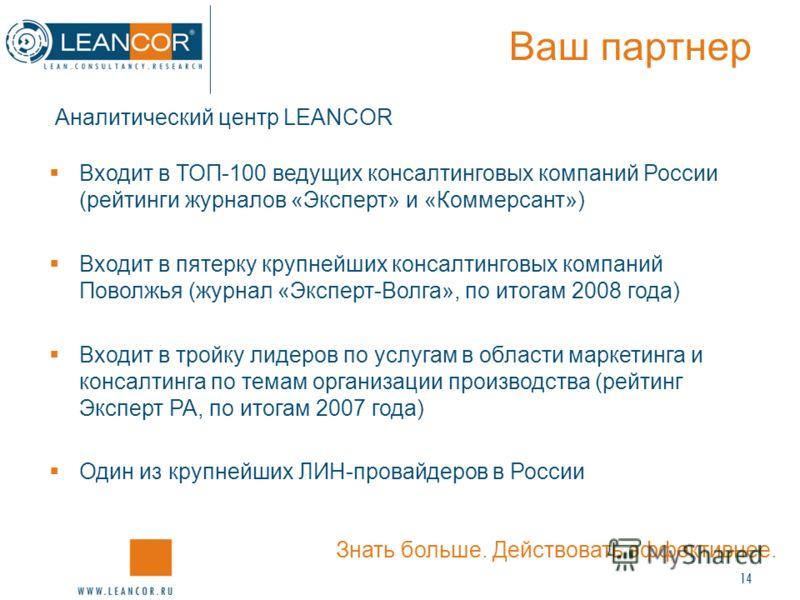 14 Ваш партнер Аналитический центр LEANCOR Входит в ТОП-100 ведущих консалтинговых компаний России (рейтинги журналов «Эксперт» и «Коммерсант») Входит в пятерку крупнейших консалтинговых компаний Поволжья (журнал «Эксперт-Волга», по итогам 2008 года)