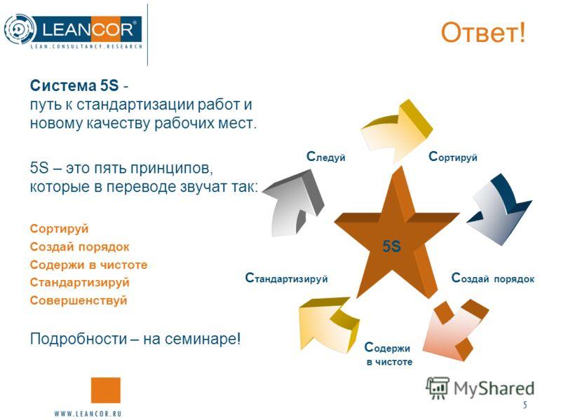 5 Ответ! Система 5S - путь к стандартизации работ и новому качеству рабочих мест. 5S – это пять принципов, которые в переводе звучат так: Сортируй Создай порядок Содержи в чистоте Стандартизируй Совершенствуй Подробности – на семинаре! Сортируй Созда