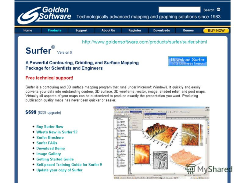 http://www.goldensoftware.com/products/surfer/surfer.shtml