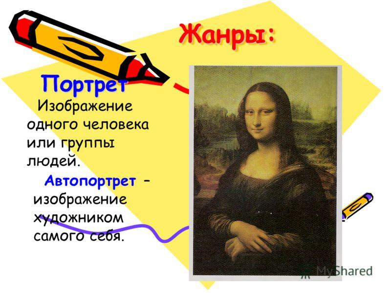 Жанры:Жанры: Портрет Изображение одного человека или группы людей. Автопортрет – изображение художником самого себя.