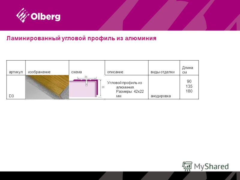 Ламинированный угловой профиль из алюминия артикулизображениесхемаописаниевиды отделки Длина см D3D3А1.tif Угловой профиль из алюминия. Размеры: 42х22 мманодировка 90 135 180