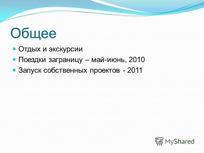 Общее Отдых и экскурсии Поездки заграницу – май-июнь, 2010 Запуск собственных проектов - 2011