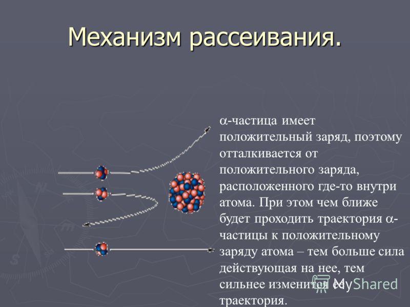 Причины рассеивания -частиц -частица Электрон Электрон, входящий в состав атома нет мог рассеивать -частиц так как масса -частицы примерно в 8000 раз больше массы электрона. Значит -частицы рассеивались положительным зарядом атома в котором сосредото