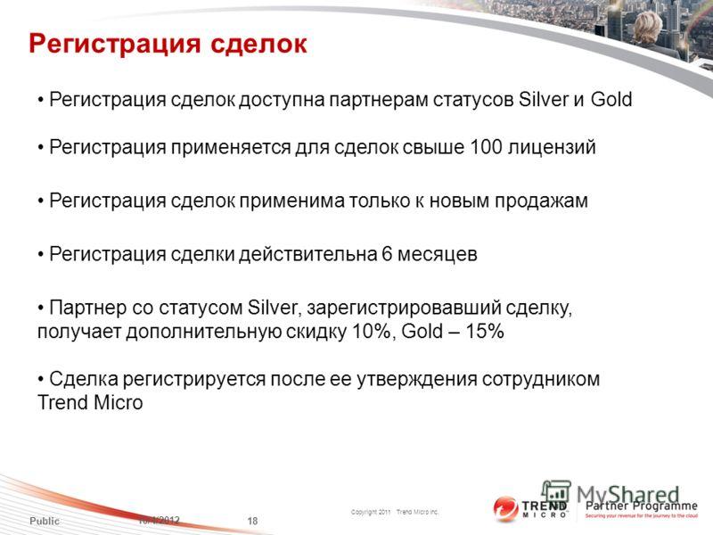 Copyright 2011 Trend Micro Inc. Регистрация сделок 7/24/2012 18 Public Партнер со статусом Silver, зарегистрировавший сделку, получает дополнительную скидку 10%, Gold – 15% Регистрация сделки действительна 6 месяцев Cделка регистрируется после ее утв