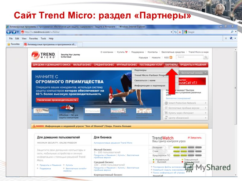 Copyright 2011 Trend Micro Inc. Classification 7/24/2012 6 Сайт Trend Micro: раздел «Партнеры»