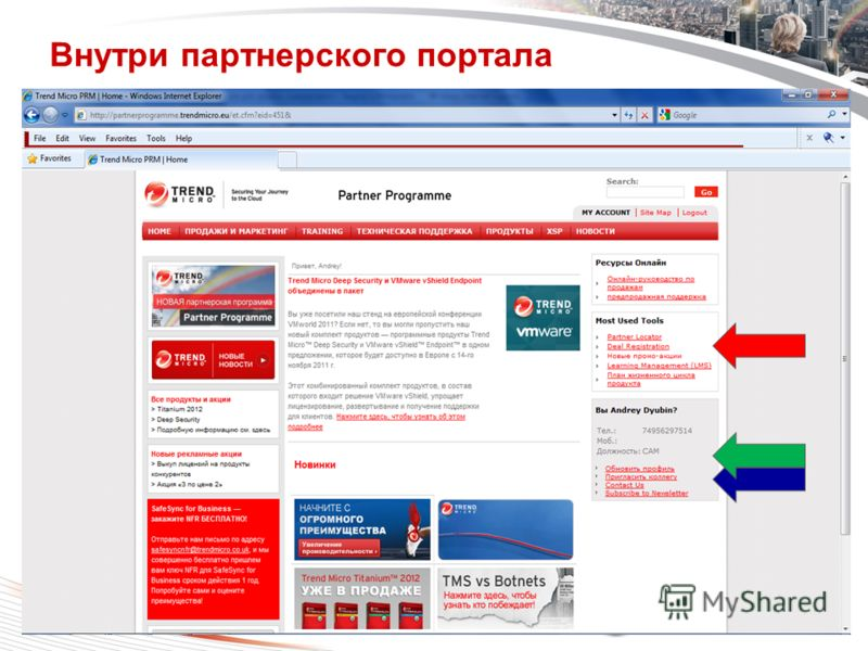 Copyright 2011 Trend Micro Inc. Classification 7/24/2012 9 Внутри партнерского портала
