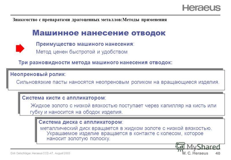 Dirk Oelschläger, Heraeus CCD-AT, August 2003 Машинное нанесение отводок 40 Преимущество машиного нанесения: Метод ценен быстротой и удобством Три разновидности метода машиного нанесения отводок: Неопреновый ролик: Сильновязкие пасты наносятся неопре