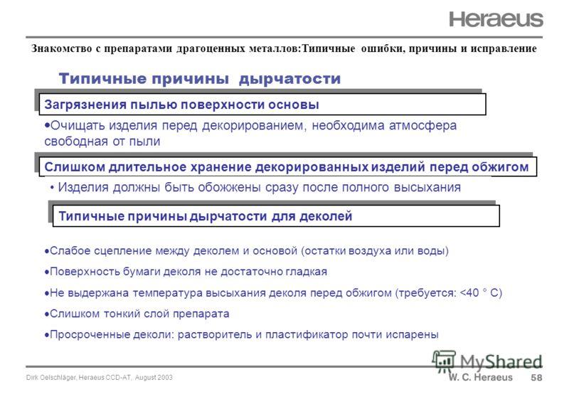 Dirk Oelschläger, Heraeus CCD-AT, August 2003 Типичные причины дырчатости 58 Загрязнения пылью поверхности основы Слишком длительное хранение декорированных изделий перед обжигом Типичные причины дырчатости для деколей Изделия должны быть обожжены ср
