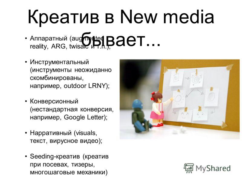Креатив в New media бывает... Аппаратный (augmented reality, ARG, twisaic и т.п.); Инструментальный (инструменты неожиданно скомбинированы, например, outdoor LRNY); Конверсионный (нестандартная конверсия, например, Google Letter); Нарративный (visual