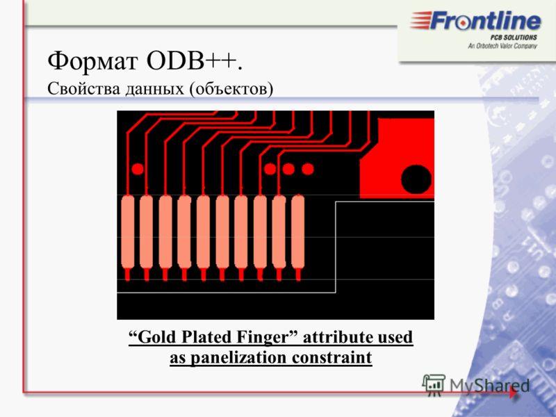 Формат ODB++. Свойства данных (объектов) Gold Plated Finger attribute used as panelization constraint
