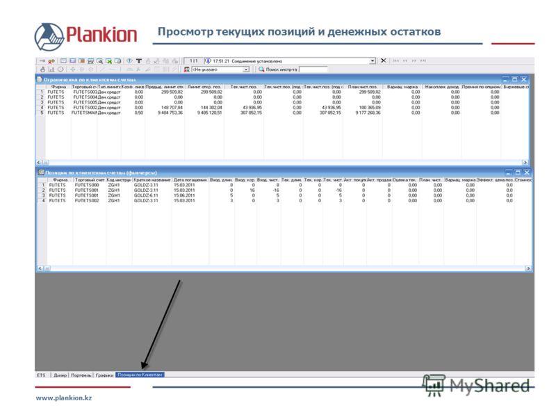 www.plankion.kz Просмотр текущих позиций и денежных остатков