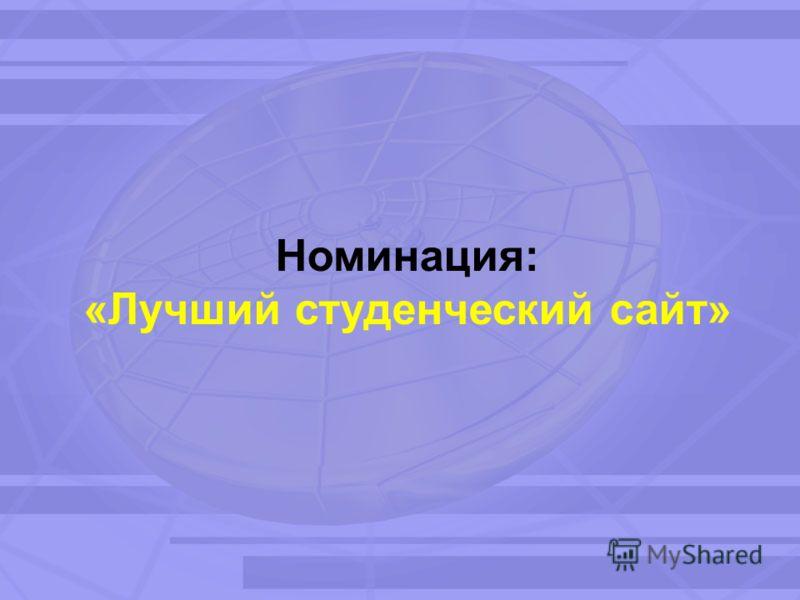 Номинация: «Лучший студенческий сайт»