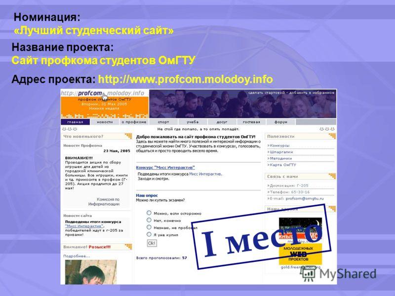 Номинация: «Лучший студенческий сайт» Название проекта: Сайт профкома студентов ОмГТУ Адрес проекта: http://www.profcom.molodoy.info I место