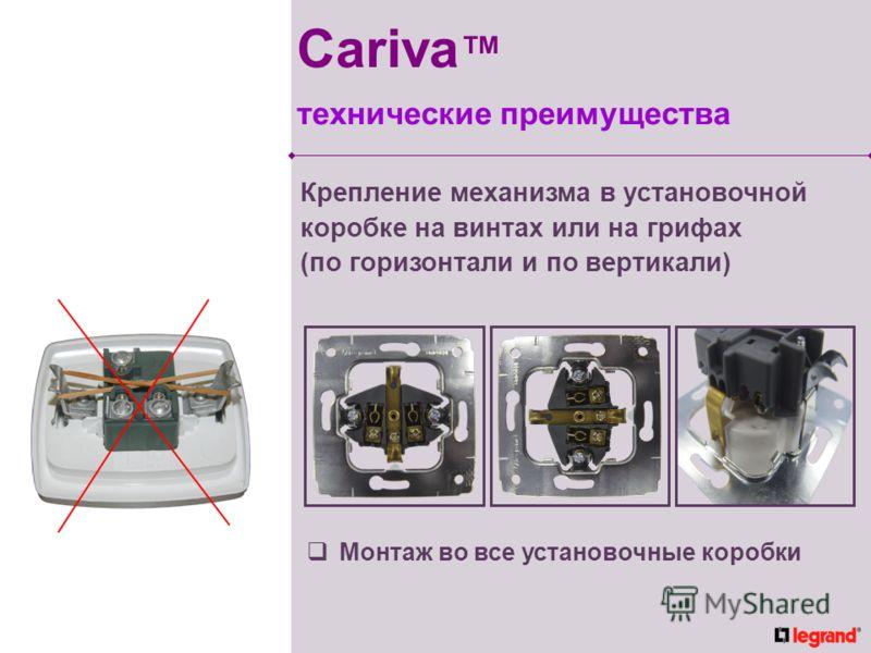 Крепление механизма в установочной коробке на винтах или на грифах (по горизонтали и по вертикали) Монтаж во все установочные коробки Cariva технические преимущества