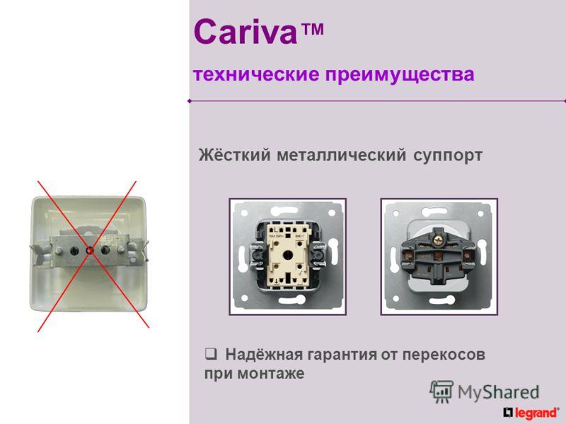 Жёсткий металлический суппорт Надёжная гарантия от перекосов при монтаже Cariva технические преимущества