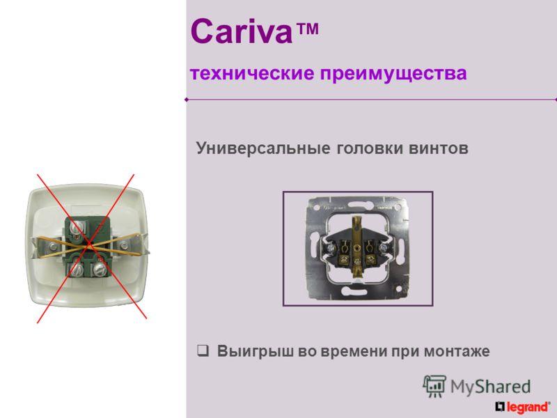 Выигрыш во времени при монтаже Универсальные головки винтов Cariva технические преимущества