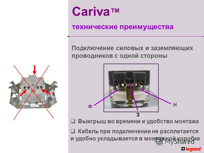 Подключение силовых и заземляющих проводников с одной стороны Выигрыш во времени и удобство монтажа Кабель при подключении не расплетается и удобно укладывается в монтажной коробке Ф H З Cariva технические преимущества