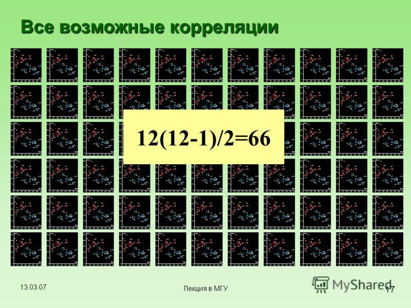 13.03.07 17 Лекция в МГУ 12(12-1)/2=66 Все возможные корреляции