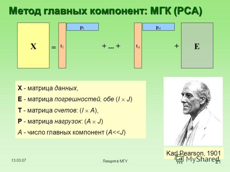 13.03.07 21 Лекция в МГУ Метод главных компонент: МГК (PCA) Karl Pearson, 1901 X t 1 p 1 = t A p A ++... + E X - матрица данных, E - матрица погрешностей, обе (I J) T - матрица счетов: (I A), P - матрица нагрузок: (A J) A - число главных компонент (A