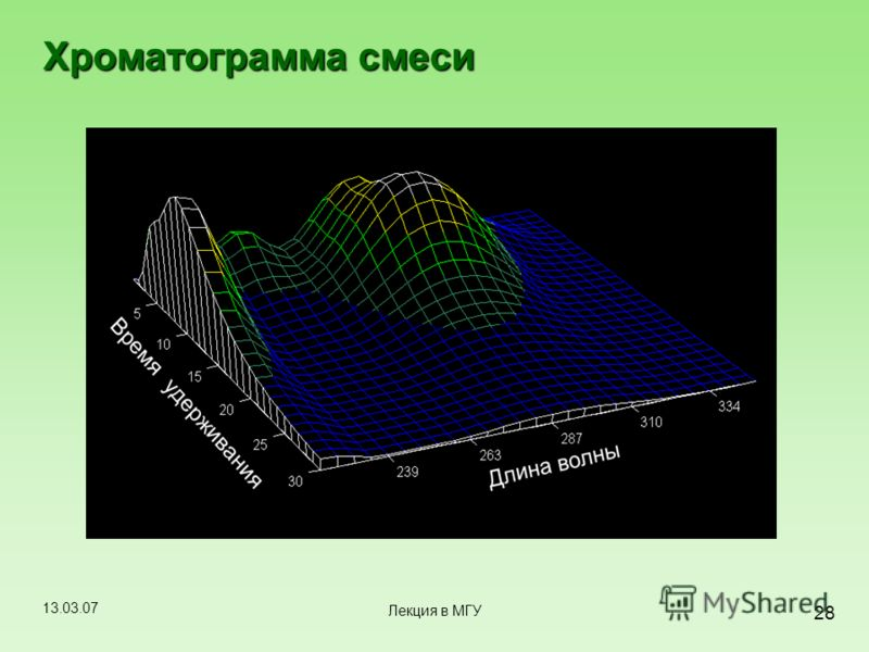 13.03.07 28 Лекция в МГУ Хроматограмма смеси