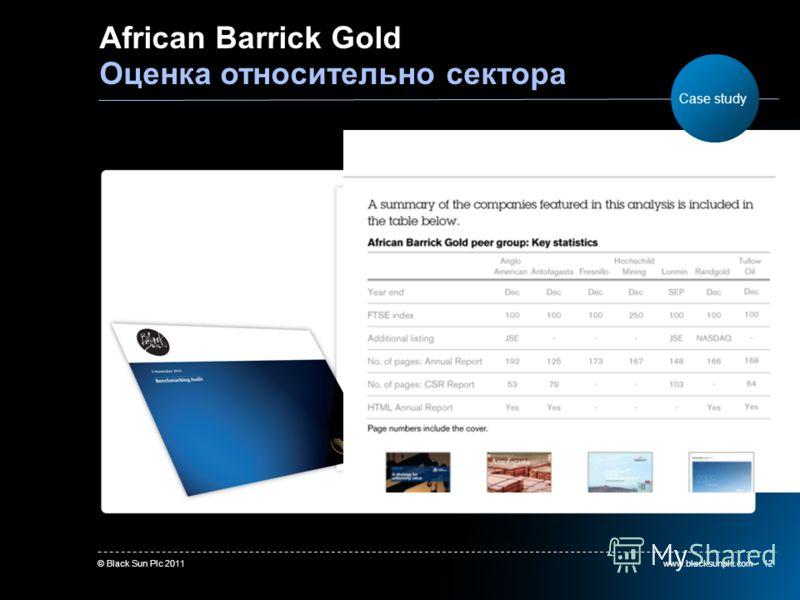 www.blacksunplc.com© Black Sun Plc 201112 African Barrick Gold Оценка относительно сектора Case study