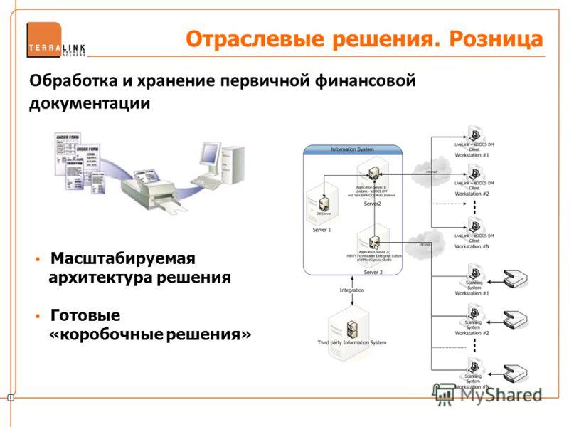 Отраслевые решения. Розница Обработка и хранение первичной финансовой документации Масштабируемая архитектура решения Готовые «коробочные решения»