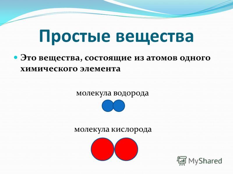 Простые вещества Это вещества, состоящие из атомов одного химического элемента молекула водорода молекула кислорода