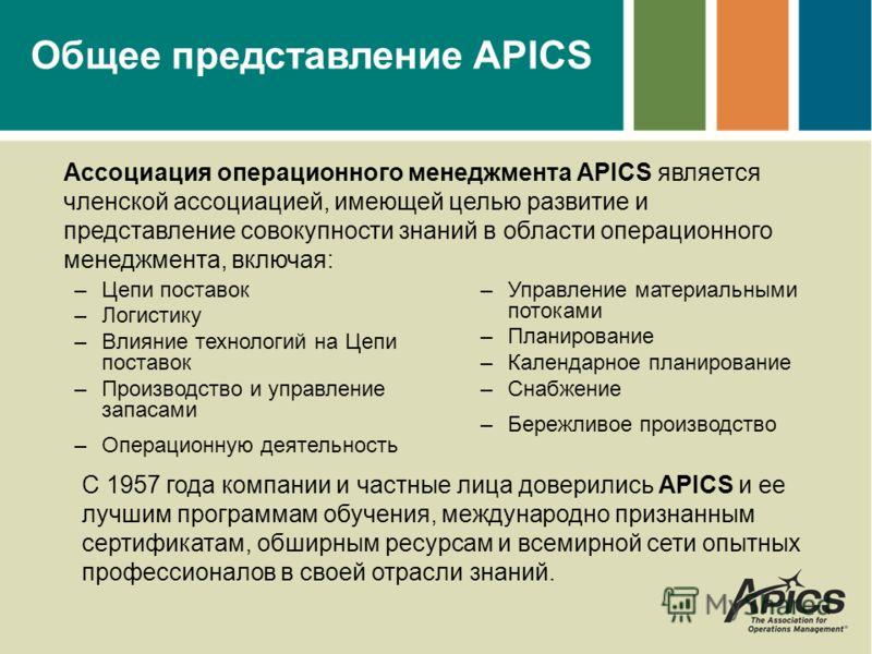 Общее представление APICS –Цепи поставок –Логистику –Влияние технологий на Цепи поставок –Производство и управление запасами –Операционную деятельность –Управление материальными потоками –Планирование –Календарное планирование –Снабжение –Бережливое
