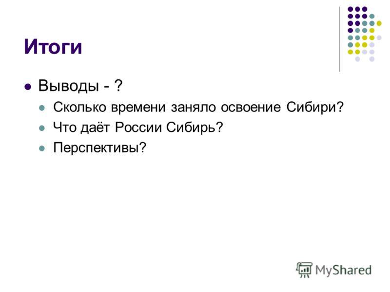 Итоги Выводы - ? Сколько времени заняло освоение Сибири? Что даёт России Сибирь? Перспективы?