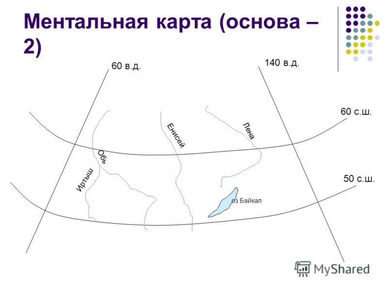 Ментальная карта (основа – 2) 60 в.д. 140 в.д. 60 с.ш. 50 с.ш. Обь Енисей Лена Иртыш оз.Байкал