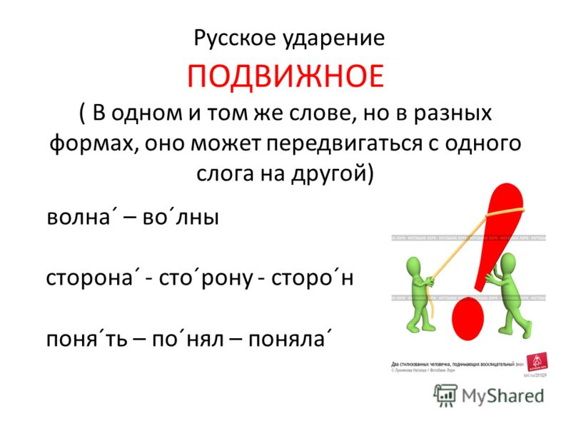 Русское ударение ПОДВИЖНОЕ ( В одном и том же слове, но в разных формах, оно может передвигаться с одного слога на другой) волна´ – во´лны сторона´ - сто´рону - сторо´н поня´ть – по´нял – поняла´ хихииииии