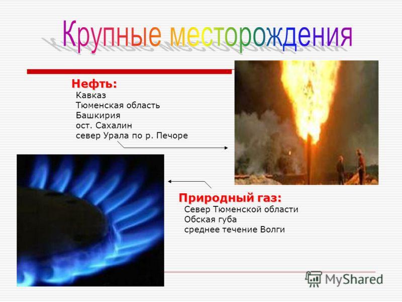 Нефть: Кавказ Тюменская область Башкирия ост. Сахалин север Урала по р. Печоре Природный газ: Север Тюменской области Обская губа среднее течение Волги