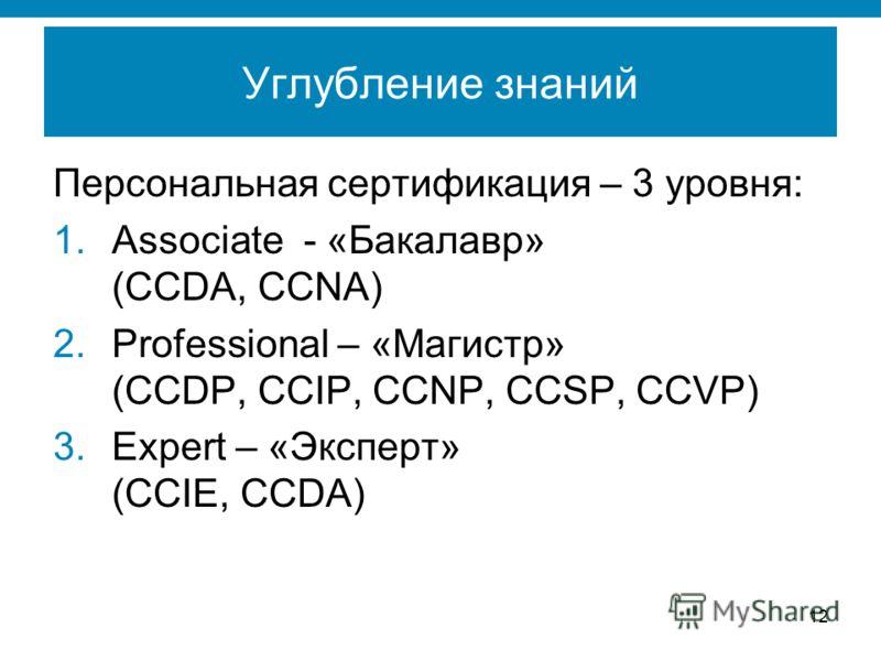 12 Углубление знаний Персональная сертификация – 3 уровня: 1.Associate - «Бакалавр» (CCDA, CCNA) 2.Professional – «Магистр» (CCDP, CCIP, CCNP, CCSP, CCVP) 3.Expert – «Эксперт» (CCIE, CCDA)
