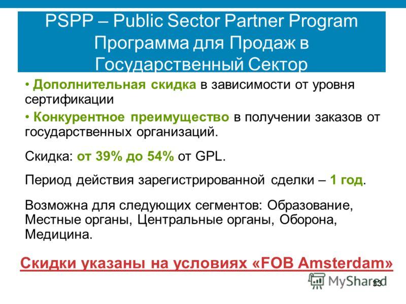 33 PSPP – Public Sector Partner Program Программа для Продаж в Государственный Сектор Дополнительная скидка в зависимости от уровня сертификации Конкурентное преимущество в получении заказов от государственных организаций. Скидка: от 39% до 54% от GP