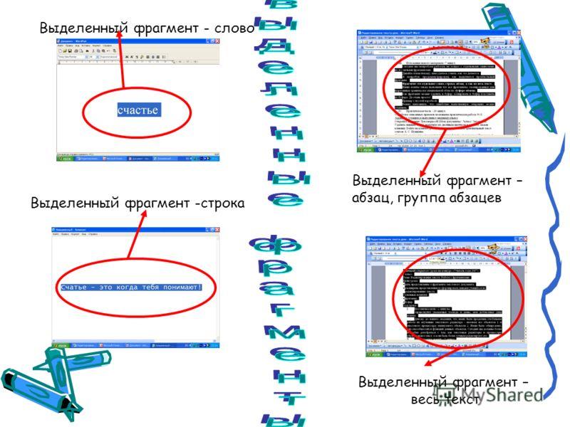 Выделенный фрагмент - слово Выделенный фрагмент -строка Выделенный фрагмент – абзац, группа абзацев Выделенный фрагмент – весь текст