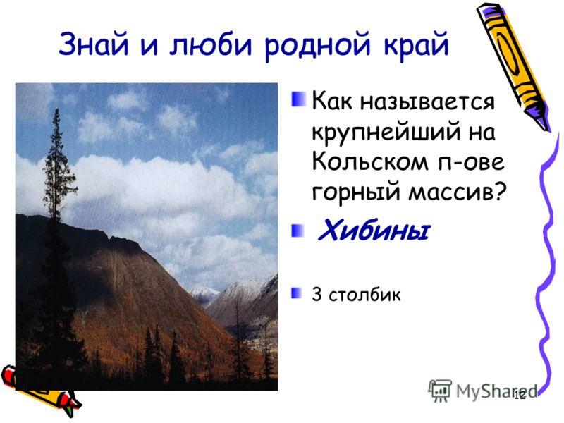 12 Знай и люби родной край Как называется крупнейший на Кольском п-ове горный массив? Хибины 3 столбик